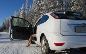 Wallpaper Trees, White, Winter, Leg, Focus, Girl, Ford