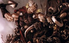 Picture God, skeletons, Thor, Marvel Comics, avenger, Avenger