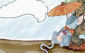 Picture the sky, tree, books, sleep, umbrella, mouse, art, the Twelve Kingdoms, Akihiro Yammada, Rakushun, 12 …