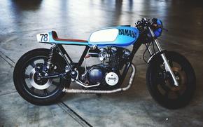 Picture yamaha, vintage, motorcycle, cafe, motorbike, cafe racer