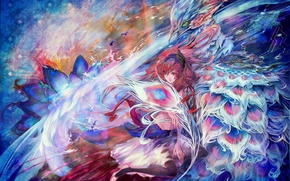Picture white, flower, line, birds, orange, blue, abstraction, glare, pink, blue, bird, Girl, fee, anime, feathers, …