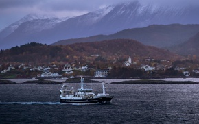 Picture storm, sea, ocean, mountains, clouds, village, ship, bay, harbor, fishing, peaks, fishing vessel