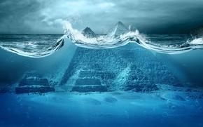 Picture the ocean, disaster, Apocalypse, pyramid, storm, sea, ocean, Egypt, fantastic, tsunami, wave, pyramid, Apocalypse, Armageddon