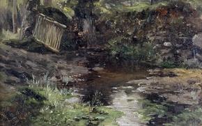 Picture landscape, nature, picture, Carlos de Haes, The river in Pont Aven