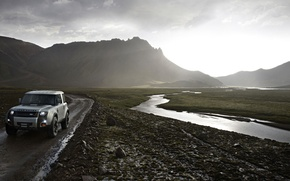 Picture road, landscape, mountains, stream, Land Rover, DC100