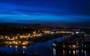 Picture night, lights, river, home, CA, Orange, USA