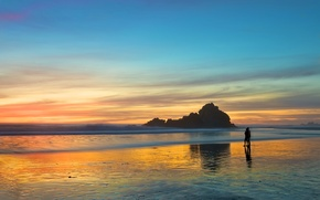 Picture sea, beach, love, sunset, romance, the evening, pair, walk, two