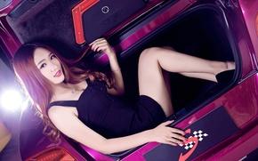 Picture Bentley, Continental, Phantom, Girl, Purple, Hair, Trunk, Hyun Lulu, Beatiful