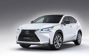 Picture white, background, Lexus, Lexus, white, front, beautiful, crossover, 2015, Lexus NX, NX300h
