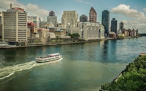 Picture building, New York, Manhattan, promenade, skyscrapers, Manhattan, New York City, ship, Hudson River, the Hudson …