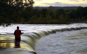 Picture river, fisherman, Australia, Kununurra, Ord