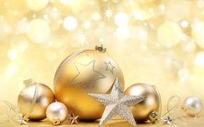 Wallpaper balls, New Year, holidays, Christmas, toys, glare, decoration, stars, bokeh, New Year, Christmas, gold, balls, ...