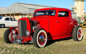 Picture red, coupe, Ford, Ford, exhibition, Hot, coupe, 1932, rod, at the Twilight, Show, Rod, hot