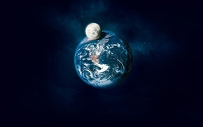Picture earth, the moon, shadow