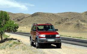 Picture road, mountains, red, nature, SUV, UAZ, UAZ, Patriot
