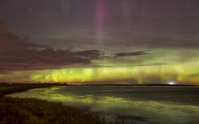Picture the sky, stars, landscape, Northern lights