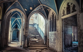 Picture ladder, devastation, steps, arch, mansion, abandonment