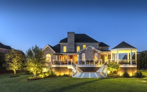 Picture landscape, lights, house, Villa, the evening, house, architecture, landscape, lighting, exterior, multiple