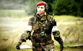 Picture girl, background, blur, equipment, uniforms, soldier