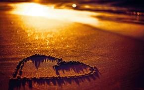 Picture sand, beach, love, beach, heart, heart, sunset, sand
