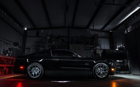 Picture black, garage, mustang, Mustang, profile, ford, drives, blackфорд