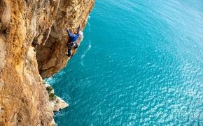 Picture sea, rocks, rock, climber