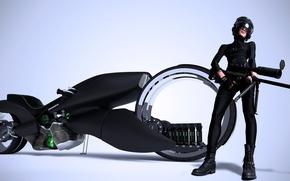 Picture girl, weapons, motorcycle, helmet, Honda, rifle, render