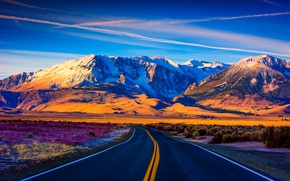 Picture road, mountains, sunlight
