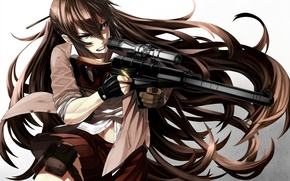 Picture girl, weapons, anger, anime, art, bullets, rifle, tef