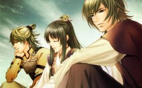 Picture the sky, hairstyle, costume, friends, three, art, visual novel, ichinohime, hiiragi, harukanaru toki no naka …
