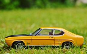 Picture auto, grass, toy, car, ford, classic, model, Oldtimer, capri, car model