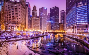Picture winter, lights, river, building, ice, skyscrapers, the evening, Chicago, USA, Chicago, illinois