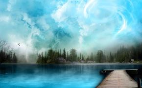 Wallpaper the sky, lake, nature