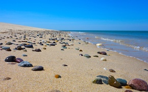 Picture sea, wave, the sky, beach, stones, sand