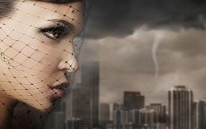 Picture girl, the city, portrait, tornado, veil