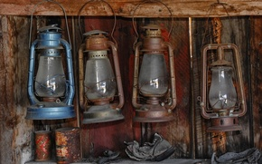 Picture dirt, wall, lamps kerosene