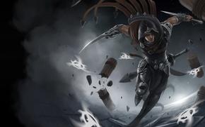 Picture movement, art, running, hood, guy, daggers, League of Legends, Talon