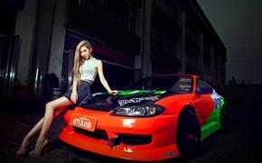 Picture machine, auto, girl, model, S15, Asian, car, nissan silvia, korean model