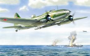 Picture figure, Sea, Flight, Ships, USSR, ART, Aviation, Ilyushin, long-range bomber, Il-4, Bob