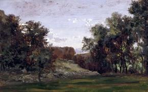 Picture trees, nature, Carlos de Haes, Landscape near Monastery