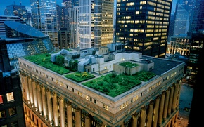 Wallpaper roof, skyscrapers, the evening, garden, Chicago, architecture, USA, terrace, usa