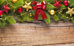 Picture stars, decoration, branches, balls, tree, New Year, Christmas, bow, Christmas, wood, decoration, Merry
