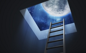 Picture moon, Dreams, stairs, roof