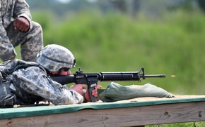 Picture shot, bullet, soldiers, flight, rifle, equipment, position, fire, shooting