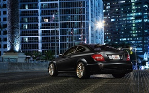 Picture Mercedes-Benz, C-Class, AMG, the city, black, C63, rear, building