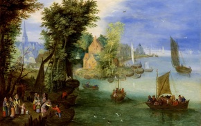 Picture boat, picture, sail, River Landscape, Jan Brueghel the younger