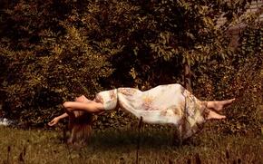 Picture girl, dress, backyard, floating, levitating