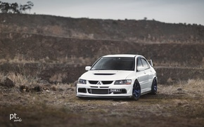 Picture turbo, white, wheels, mitsubishi, japan, jdm, tuning, lancer, evolution, evo, front, face, low, stance