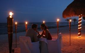 Picture beach, romance, the evening, two, beach, romantic, dinner