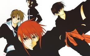 Picture red, kimono, guys, friends, art, omi tsukiyono, youji kudou, weiss kreuz, ken hidaka, ran fujimiya, …